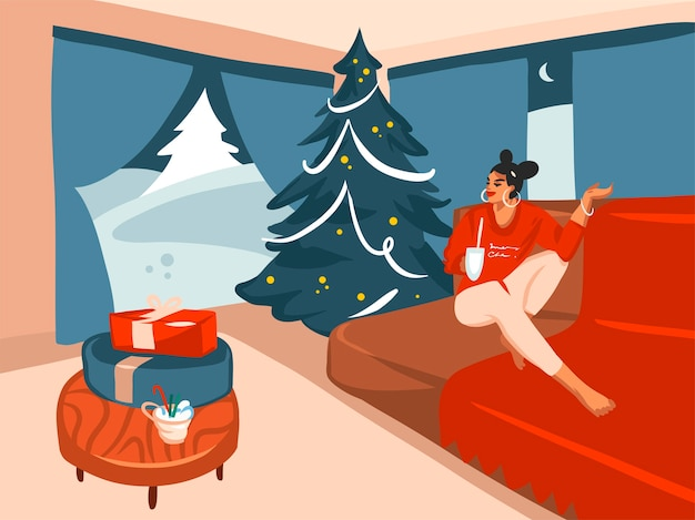 Hand getekend cartoon illustratie van grote versierde kerstboom en vrouwelijke cacao drinken in het interieur van het vakantiehuis