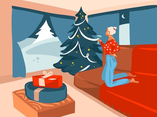 Hand getekend cartoon illustratie van versierde kerstboom en vrouwelijke drankje cocktail in vakantiehuis interieur geïsoleerd