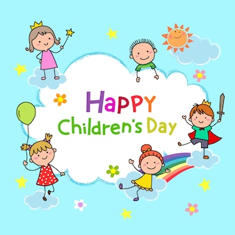 Hand getekend cartoon kinderen samenspelen in de lucht