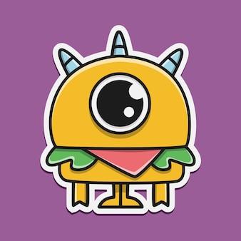 Hand getekend cartoon monster sticker ontwerp illustratie