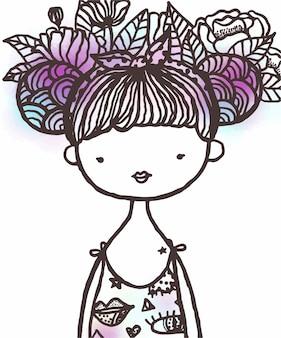Hand getekend cartoon mooi meisje