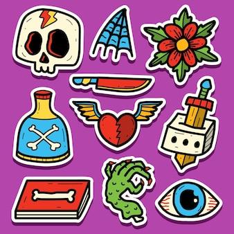 Hand getekend cartoon tattoo sticker ontwerp