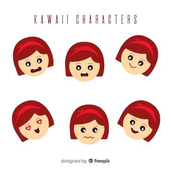 Hand getekend charmante karakter gezicht collectie