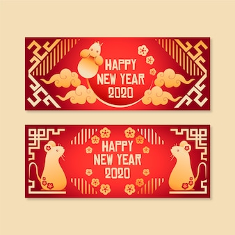 Hand getekend chinees nieuwjaar banners met verloop