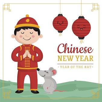 Hand getekend chinees nieuwjaar concept