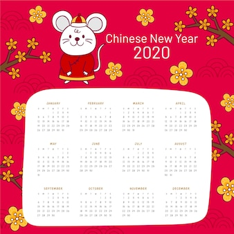 Hand getekend chinees nieuwjaar kalender