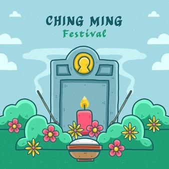 Hand getekend ching ming festival illustratie
