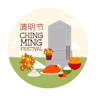 Hand getekend ching ming festival viering illustratie