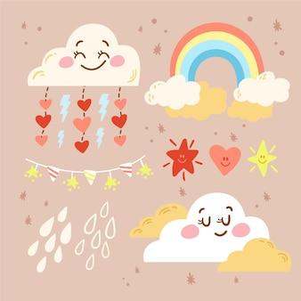 Hand getekend chuva de amor decoratie-elementpakket