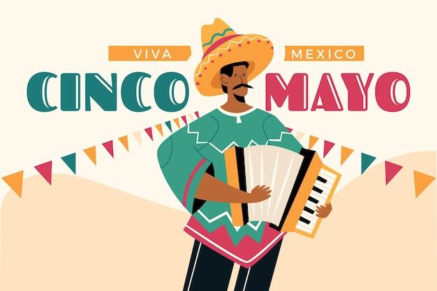 Hand getekend cinco de mayo mexicaanse achtergrond