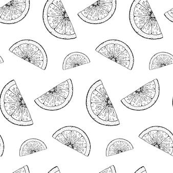 Hand getekend citrus naadloos patroon