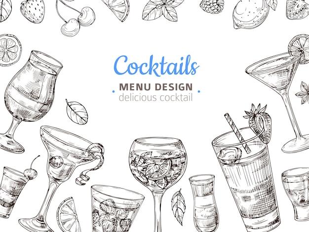 Hand getekend cocktail achtergrond