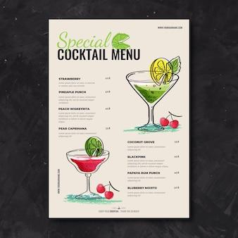 Hand getekend cocktail menusjabloon