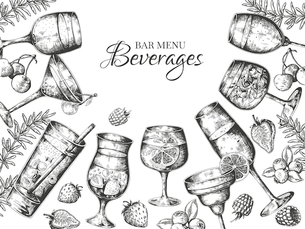 Hand getekend cocktails achtergrond afbeelding