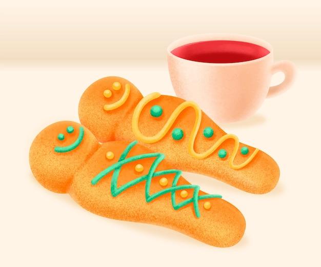 Hand getekend colada morada y guaguas de pan
