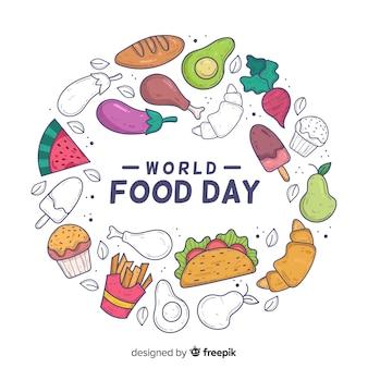 Hand getekend concept wereld eten dag