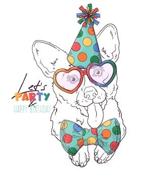 Hand getekend corgi dog clown portret met accessoires