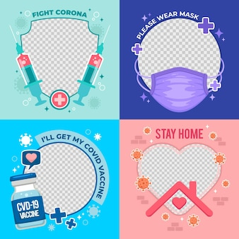 Hand getekend coronavirus facebook frame voor avatar