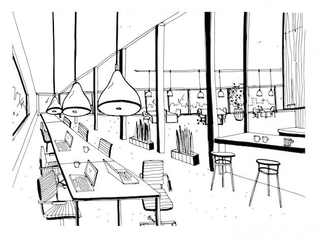 Hand getekend coworking cluster. modern kantoorinterieur, open ruimte. werkruimte met computers, laptops, verlichting en rustplaats. zwart-wit horizontale schetsillustratie.