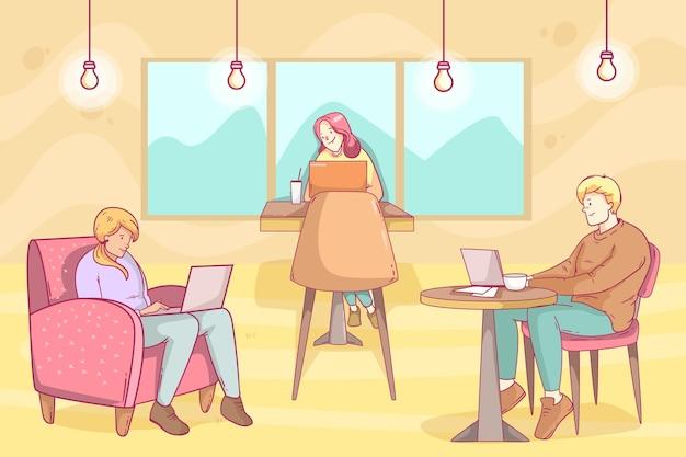 Hand getekend coworking space illustratie Gratis Vector