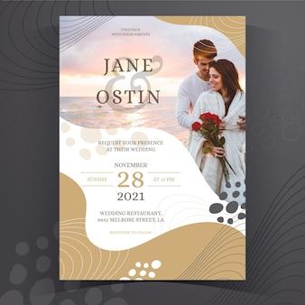 Hand getekend creatieve bruiloft uitnodiging sjabloon