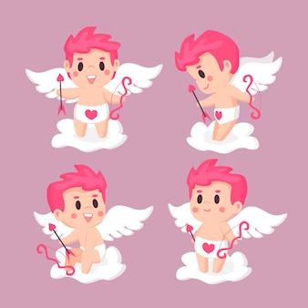 Hand getekend cupid karakter geïllustreerde pack