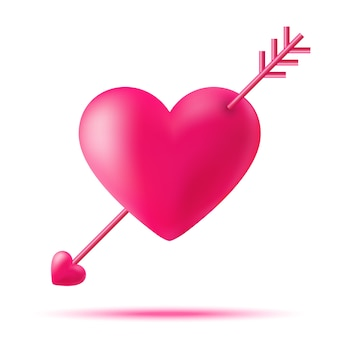 Hand getekend cupido hart met een pijl voor valentijnsdag