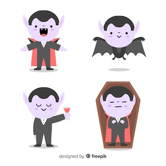 Hand getekend cute cartoon met dracula
