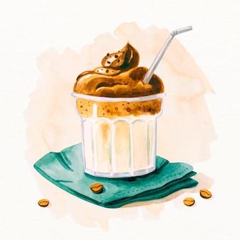 Hand getekend dalgona koffie illustratie