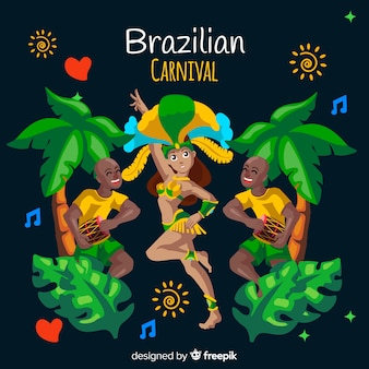 Hand getekend danseres braziliaanse carnaval achtergrond
