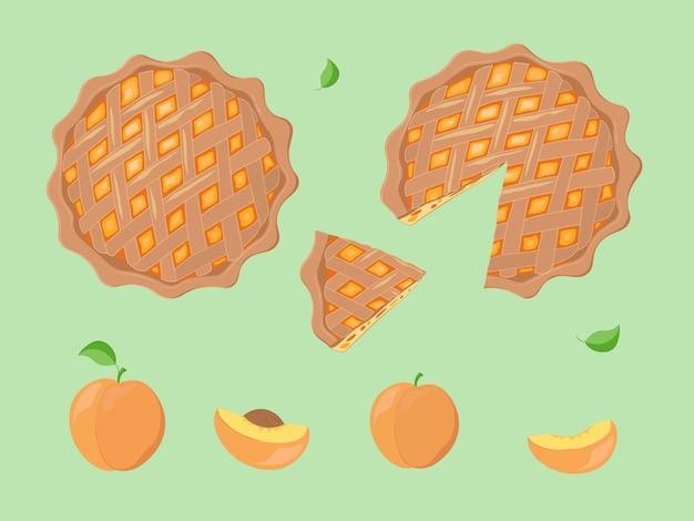 Hand getekend decoratieve illustratie van perziktaart en perziken. traditioneel perziktaartdessert met rooster van chocodeg voor een gezinsvakantie