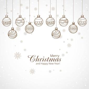 Hand getekend decoratieve kerstballen achtergrond