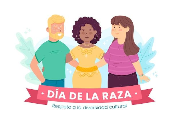 Hand getekend dia de la raza illustratie