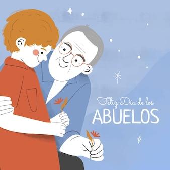Hand getekend dia de los abuelos illustratie met grootouders