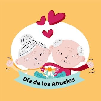 Hand getekend dia de los abuelos illustratie