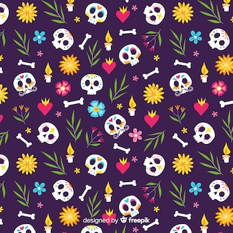 Hand getekend día de muertos geroteerd schedels patroon