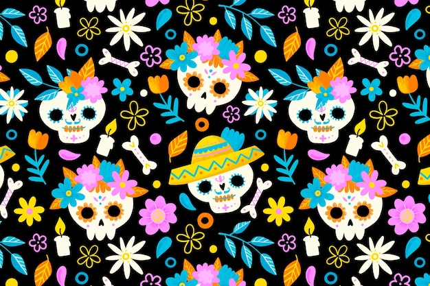 Hand getekend día de muertos patroon