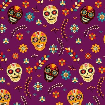 Hand getekend dia de muertos patroon