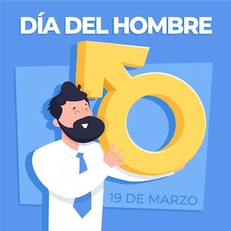 Hand getekend dia del hombre illustratie