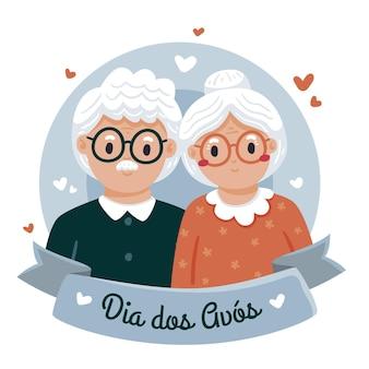 Hand getekend dia dos avos illustratie met grootouders