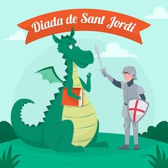 Hand getekend diada de sant jordi illustratie met draak en ridder