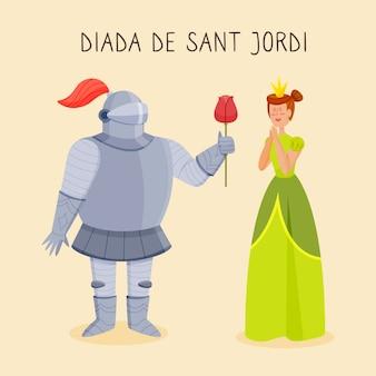 Hand getekend diada de sant jordi illustratie met ridder, prinses en roos