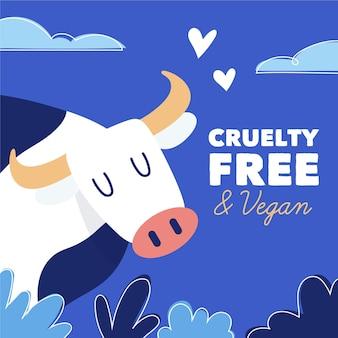 Hand getekend dierproefvrij en veganistisch concept met koe