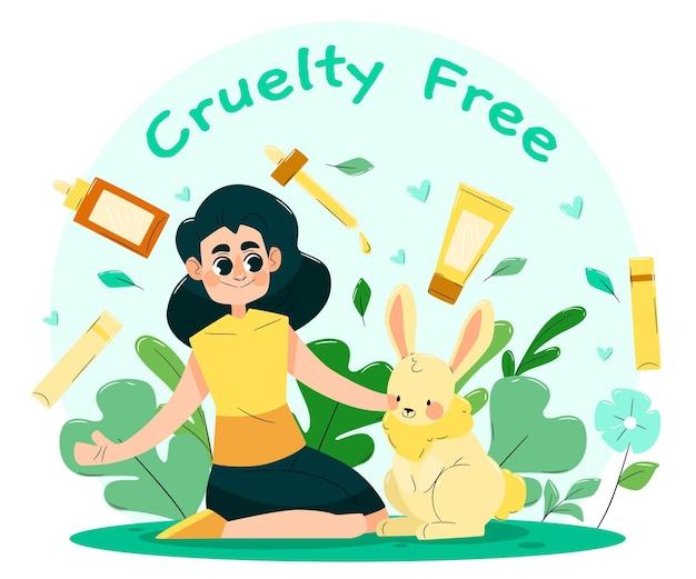 Hand getekend dierproefvrij en veganistisch concept