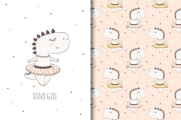 Hand getekend dino meisje. illustratie voor meisjes en naadloos patroon
