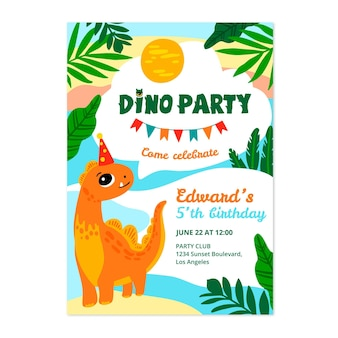 Hand getekend dinosaurus verjaardag uitnodiging sjabloon