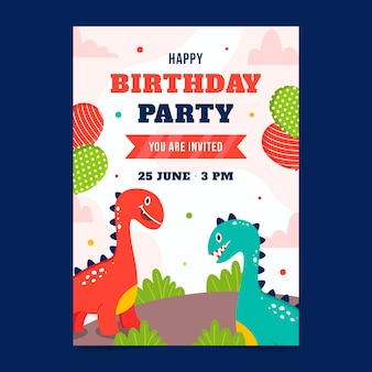 Hand getekend dinosaurus verticale verjaardag uitnodiging sjabloon