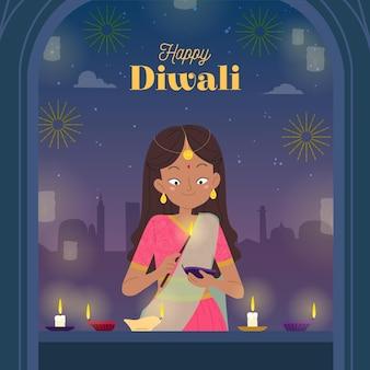 Hand getekend diwali concept