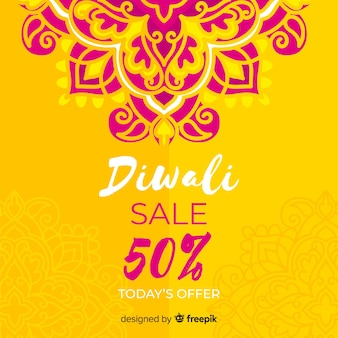 Hand getekend diwali verkoop en bloemen ontwerp