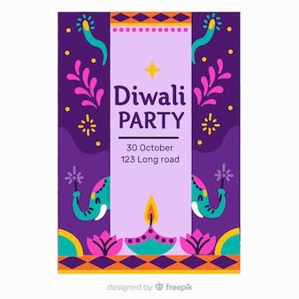Hand getekend diwali verkoop poster sjabloon